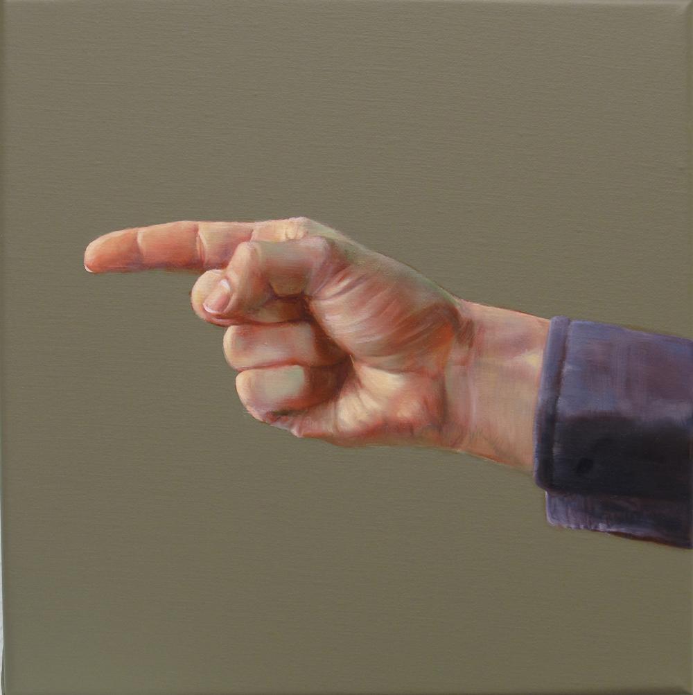 Orr Máté: Mutató kéz, 30x30, olaj, akrl, vászon